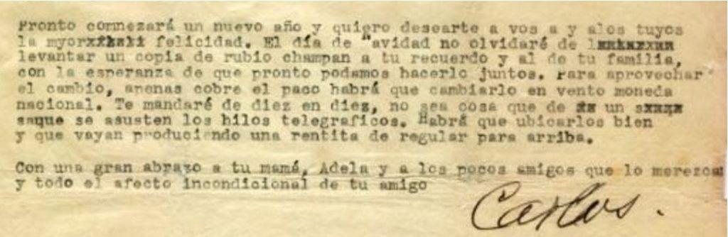 Carta a Defino Fin de 1934